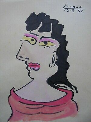 PABLO PICASSO   drawing on original paper INK  watercolor  -  signed --
