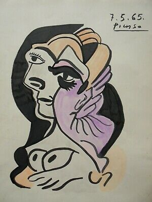 PABLO PICASSO   drawing on original paper INK  watercolor  -/  signed -/-
