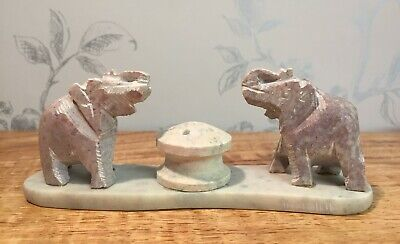 Indian Solid Soapstone Hand Carved Elephant Ornament Incense stick holder BH1132