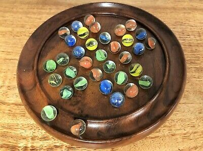 """Hand Crafted Wooden Solitaire Puzzle Board & Marbles Game - 6"""" or 9"""" Board"""