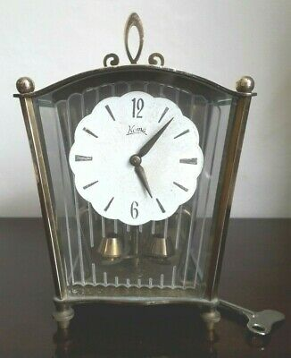 Vintage Koma Brass Clock Lovely Design Etched & Bevel Glass Case - Spares/repair