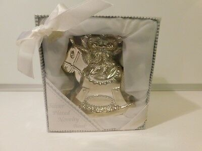Vintage Silver Plated First Piggy Baby Bank Rocking Horse Teddy Bears Christmas