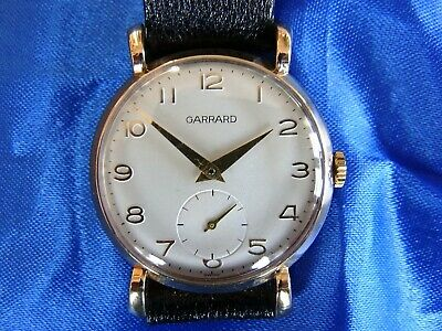 GARRARD 9k GOLD WRISTWATCH WITH ART DECO LUGS, LATE 1940s. ORIGINAL & LOVELY.