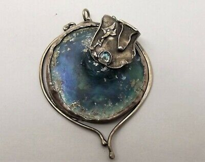 Arik Idan Sterling Silver Ancient Roman Glass Pendant Large Wearable Art Toronto