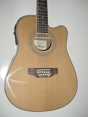New 12 String Full Size Acoustic Electric Cutaway Guitar with Gig Bag Natural