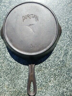 OLD Early PURITAN number 5 E CAST IRON SKILLET WITH SMOKE RING wood cook stove