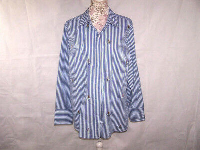 1e136fdb246854 Ava & Viv Shirt Top Plus 1X Button Front Striped Blue White Embroidered  Floral
