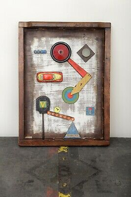 Assemblage Art 'Cliff Road' in Antique Printers Tray by Richard Baldwin