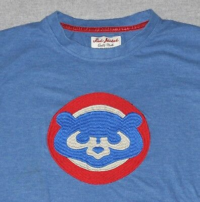 04b44ed653b Chicago Cubs Baseball T-Shirt Men s SMALL Red Jacket Sewn Embroidered Retro  Blue