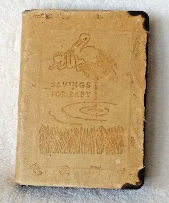 "Vintage The Zell Co. ""SAVINGS FOR BABY"" book bank RARE (No key)"