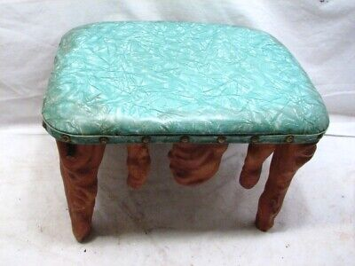 Vintage Cyprus Wood Arts & Crafts Foot Stool Bench Rest Driftwood Home Decor