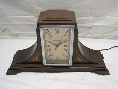 Vintage 1930s Manning Bowman Art Deco Inlay Wood Shelf Mantle Clock Electric