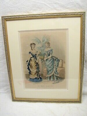 La Mode Illustree Bureaux Journal Paris Framed Colored Fashion Print Victorian C