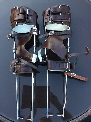 Pair Of Vintage Chrome & Leather Polio - Leg Braces - Steampunk - Ottobock Items