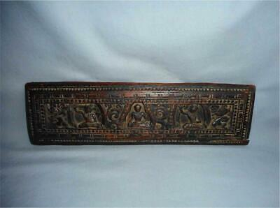Antique Tibet TOP VERY HIGH AGED USED WOOD RICH CARVED BUDDHIST BOOK COVER