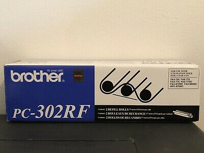 Genuine BROTHER PC-302RF OEM 2-Pack Thermal Fax Ribbon Refill Rolls New Sealed
