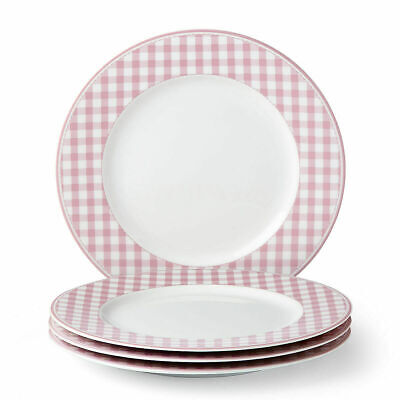 LENOX Totally Tikaa Pink Gingham 4-piece Dinner Plate Set (NEW IN BOX)