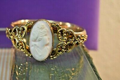 Antique Victorian large ornate gold fill shell cameo wide hinged bangle bracelet