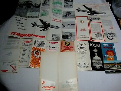 ETHIOPIAN AIRLINES POCHETTE LOT DOCUMENTS, MAP ROUTE, carte....