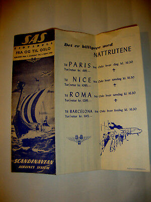 Sas Scandinavian Airlines Timetable 1953