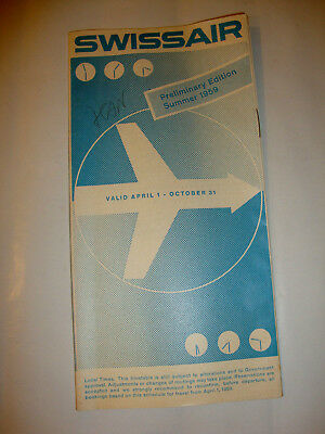 Swissair Airlines Timetable 1959