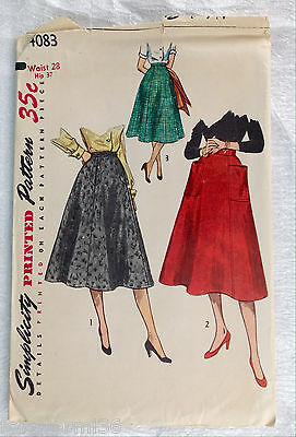 Vintage 1940s 1950s SIMPLICITY Women Sewing Pattern 4083 Skirts Waist sz 28