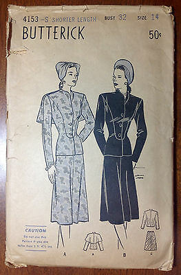 Vintage 1930s 1940s BUTTERICK Sewing Pattern 4153 Two-Piece Suit w Cape B32