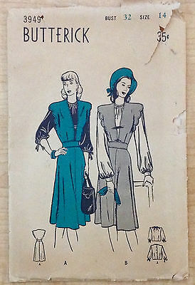 Vintage 1930s 1940s Butterick Sewing Pattern 3949 Scalloped Jumper Blouse B32