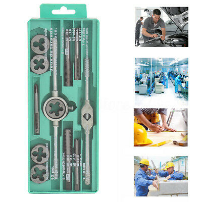 12Ps Pro Tap And Die Set Metric Wrench Cuts M3-M12 Bolts Engineers Kit Hard Case