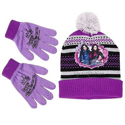 reputable site 6e85c de08a NWT Disney Descendants Evie Mal Girl Purple Black Winter Beanie Hat Gloves  Set