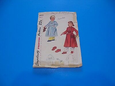 VTG 1940s Sewing Pattern Toddler Robe & Slippers Size 1 Simplicity 3053