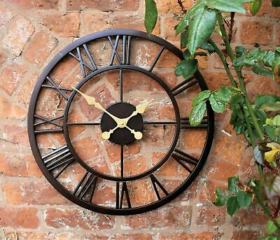 Wall Clock Large Indoor Outdoor Garden Skeleton Giant Open Face Metal 58 Cm