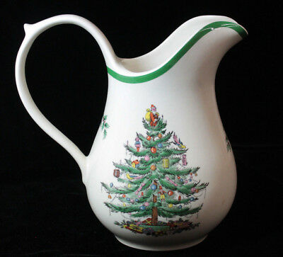 "Spode Christmas Tree Large 8 1/2"" Tall Jug / Pitcher 48 OZ Made in England S3324"