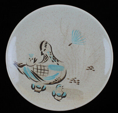 "Vintage Red Wing Hand Painted Bob White Pattern Dinner Plate 11"" Diameter Quail"