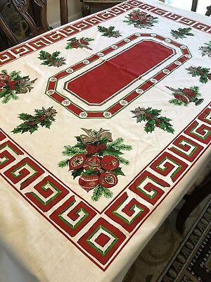 """Vintage Cotton Blend Christmas Tablecloth Bows Ornaments Holly Berries 103""""X58"""""""