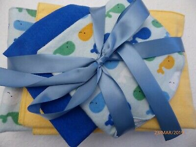 Receiving Blanket; 2 burp Cloths and 2 washcloths; whales with blue receiving