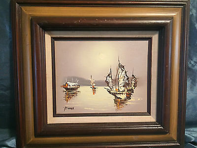 Vintage Original Oil Painting Artist Signed Nautical Impressionism Clipper Ships