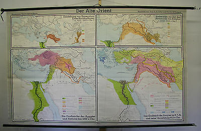 Schulwandkarte Map Africa Old Orient Culture 1973 Babylon Egypt Nil 211x134c