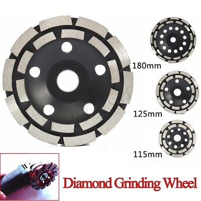 115mm - 180mm Diamond Grinding Disc Double Row Millstone Concrete Angle Grinder