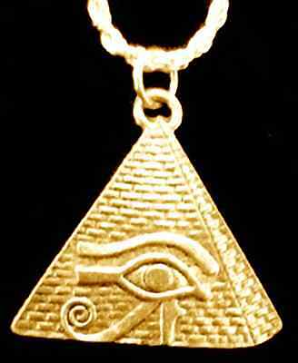 LOOK New Eye of Horus Pyramid Egyptian Egypt Charm 24kt Gold plated over real si
