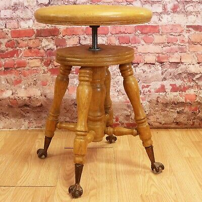 Antique Oak Piano Stool - Adjustable/Swivel - Glass Ball & Claw Feet