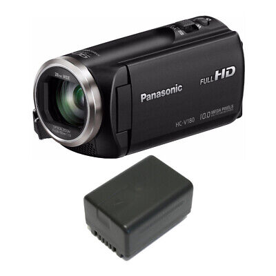 Panasonic V180 Full HD 1080p Camcorder with Wasabi VBT190 Spare Battery
