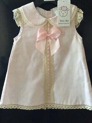 Baby Girls Wee Me Spanish Collar  Pink Romany Dress With Beige Lace Trim Bows ☘️