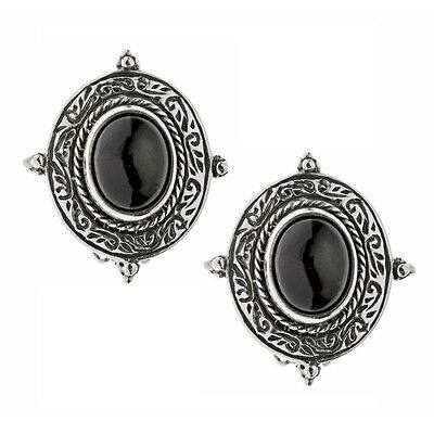 Savati ~ Sterling Silver Byzantine Clip Earrings with Garnet Stones