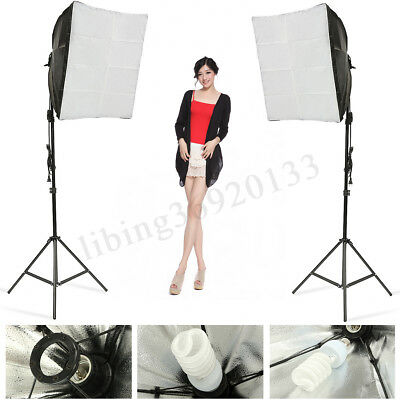 Photo Studio Set Photography Continuous Lighting Softbox + Bulb +Light Stand Kit