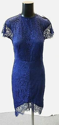 412d174c4ec2 Yoins Women's Delicate Lace Round Neck S/S Midi Bodycon Dress KB8 Navy Small