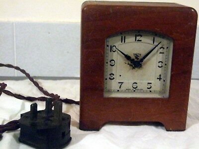 Smith  Sectric Wood Case and Bakelite Early English Alarm Mantel Clock Rare Mode