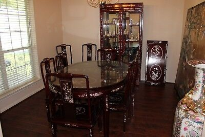 Rosewood Dining Room & Curio Set Hand Carved with Mother of Pearl Inlays !!