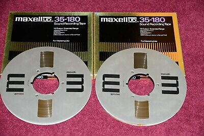 """2 x MAXELL UD 35-180 RECORDING TAPES ON 10.5"""" NAB METAL REELS (BOXED)"""