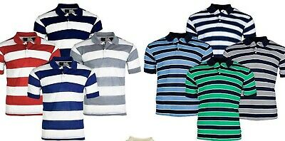 Mens Polo Shirts Striped stripe Pique Short Sleeve Collared Tee T Shirt M L XL 2